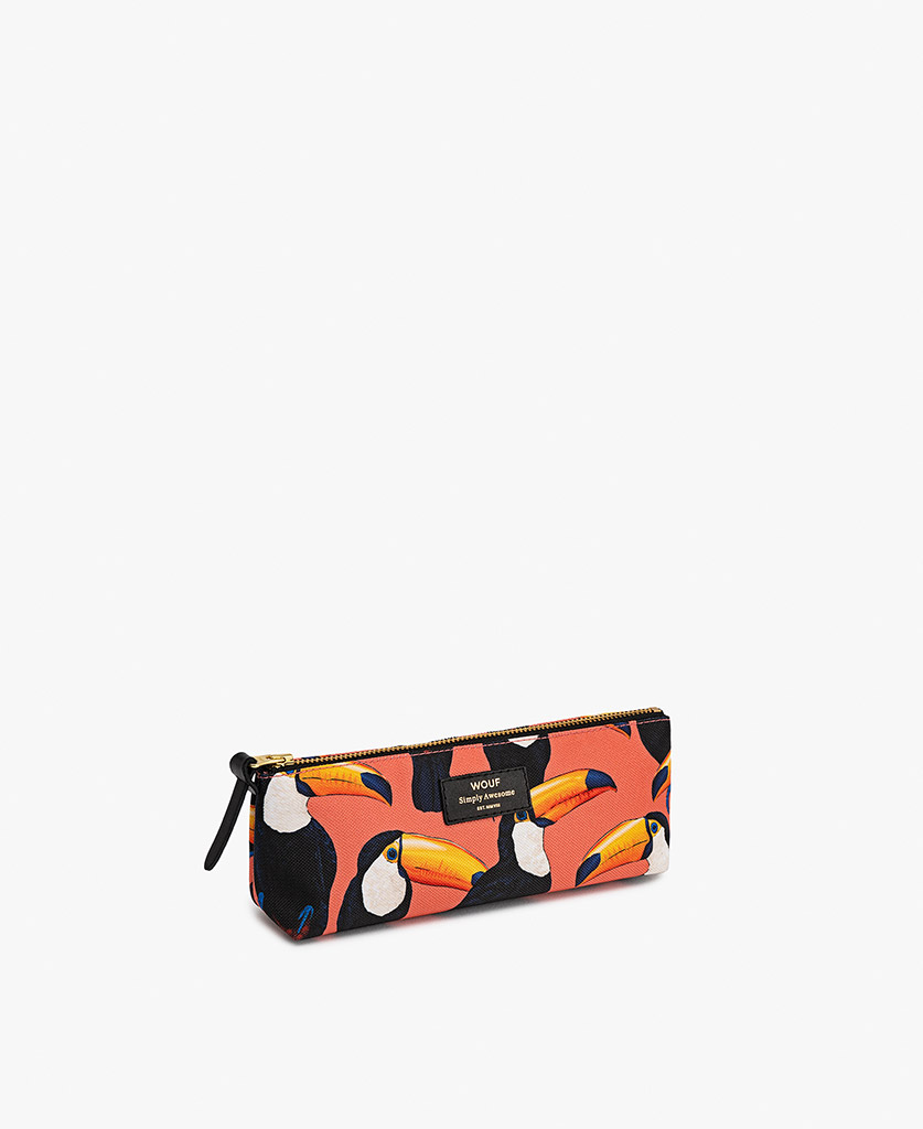 woman's coral Pencil case with birds