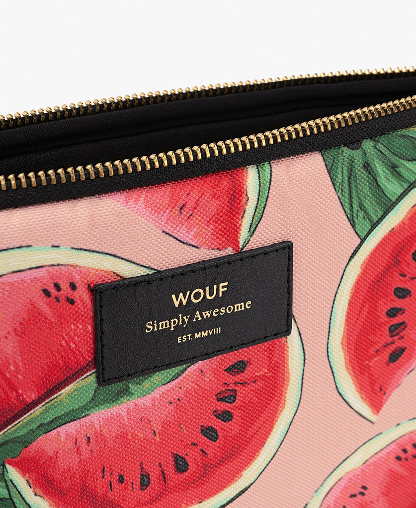 woman's pink iPad case with watermelon's slices and leather details