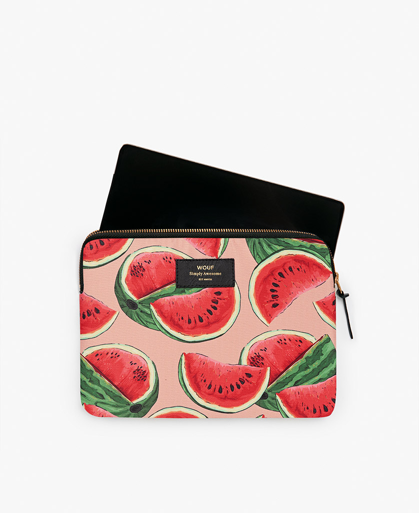 woman's pink iPad case with watermelon's slices