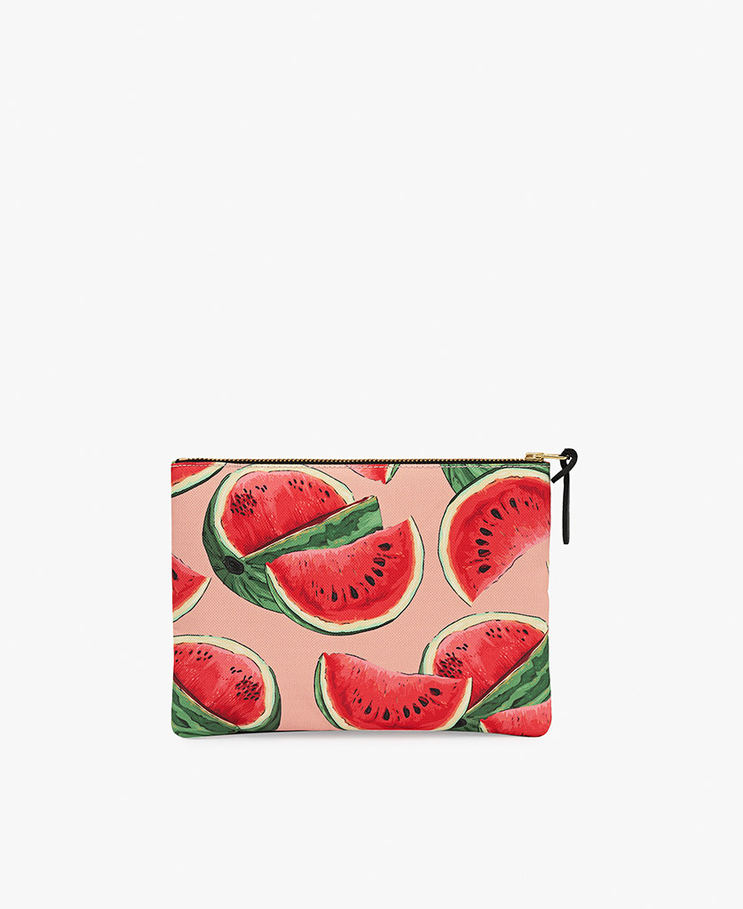 woman pouch bag with fruits