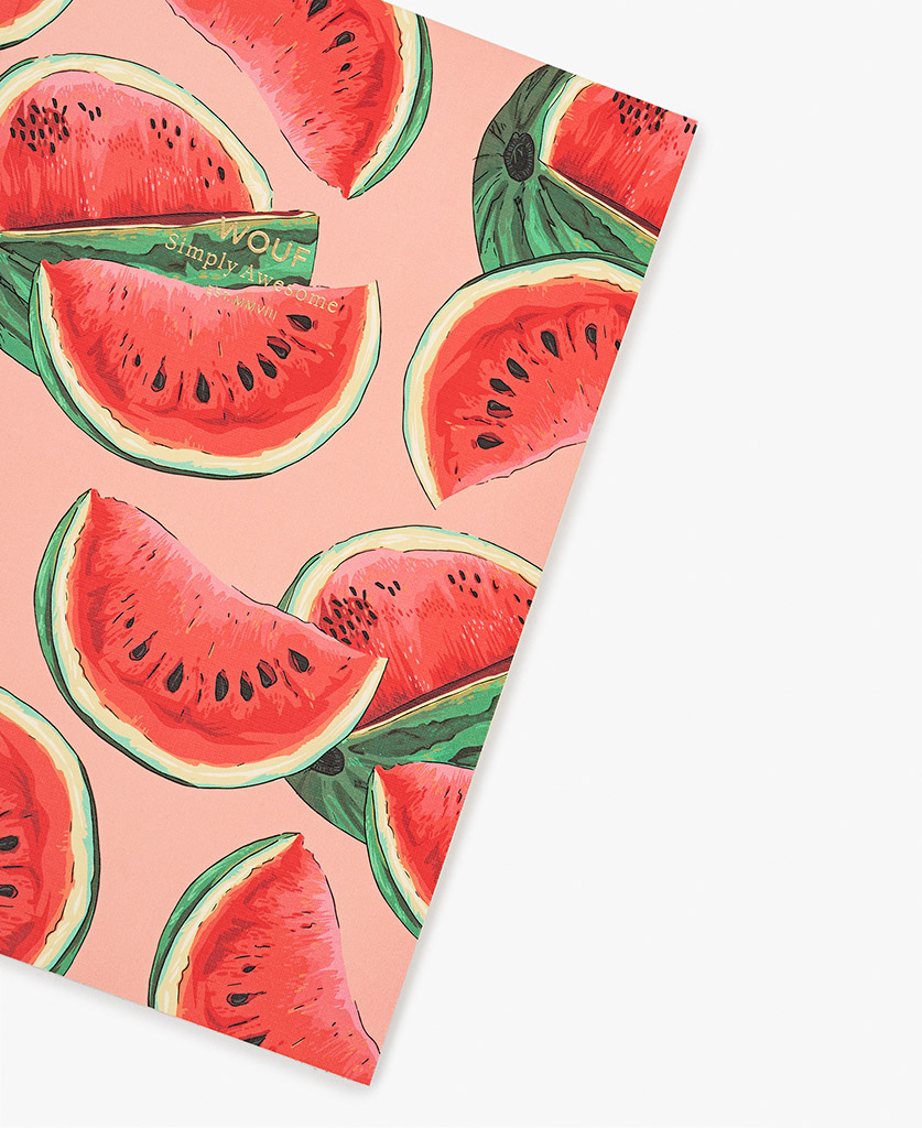 woman's A5 journal notebook in pink with watermelon slices