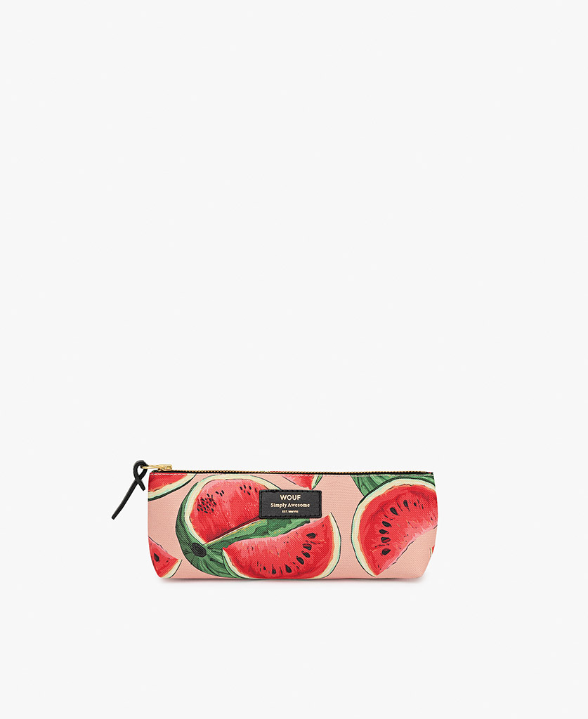 woman's pink Pencil case with watermelon slices