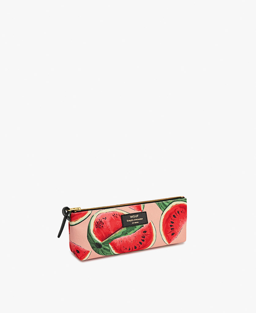 woman's Pencil case in pink with fruits