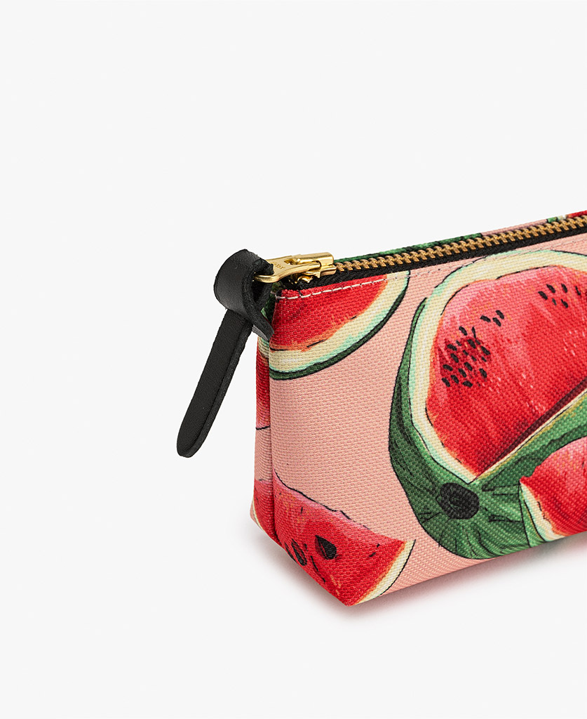 woman's Pencil case in pink with watermelon slices