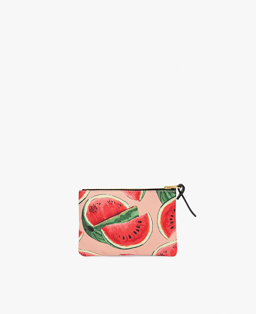 woman's pouch bag in pink with watermelon slices
