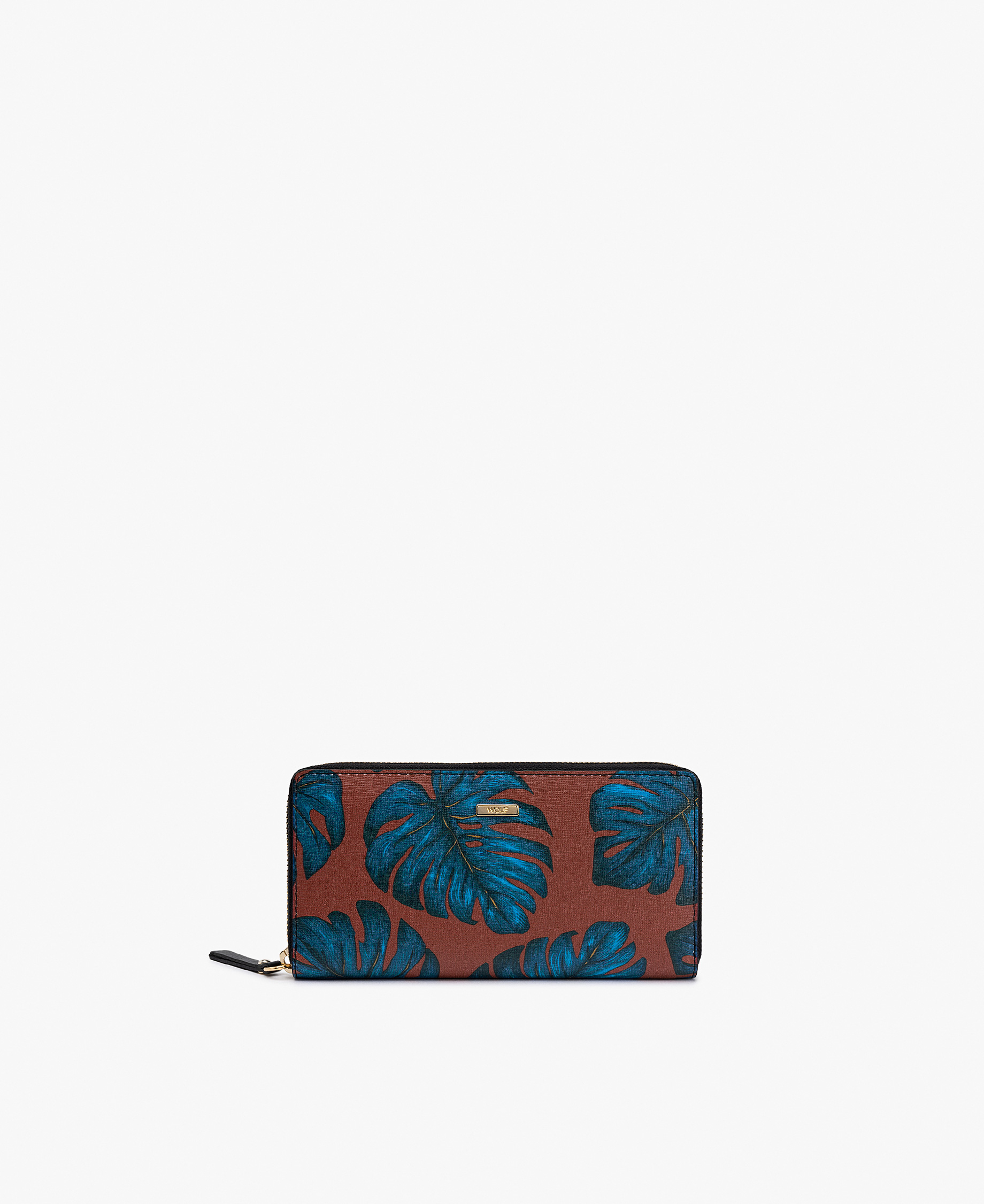 woman leather wallet with leaves