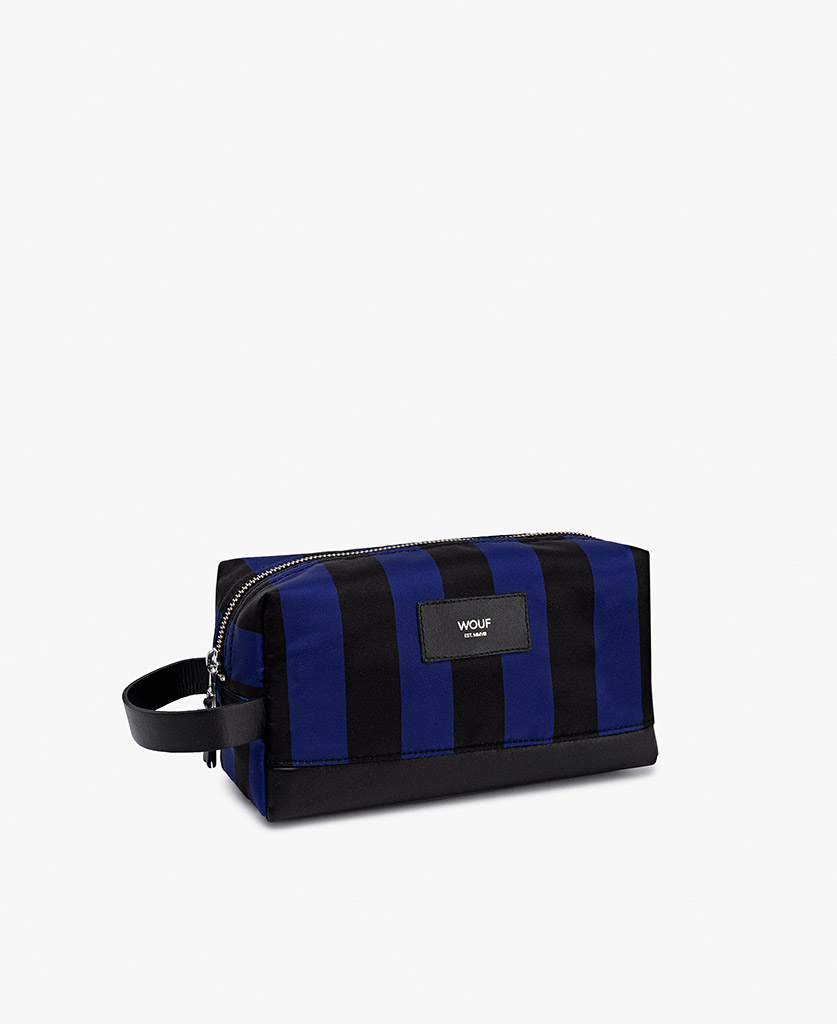 striped toiletry bag for man in blue and black