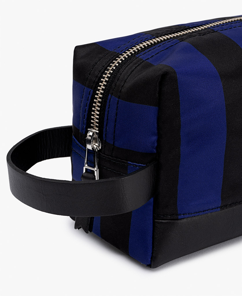man's striped toiletry bag in blue and black