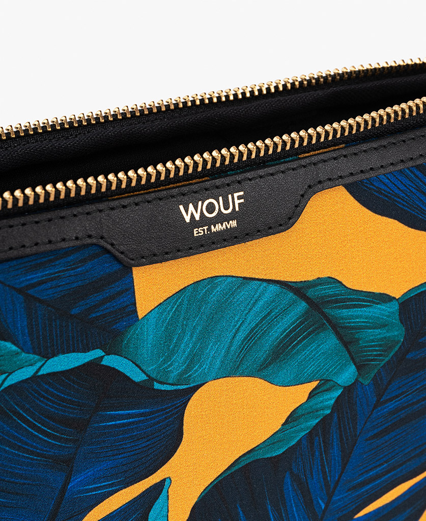 woman's satin ipad case with leather details