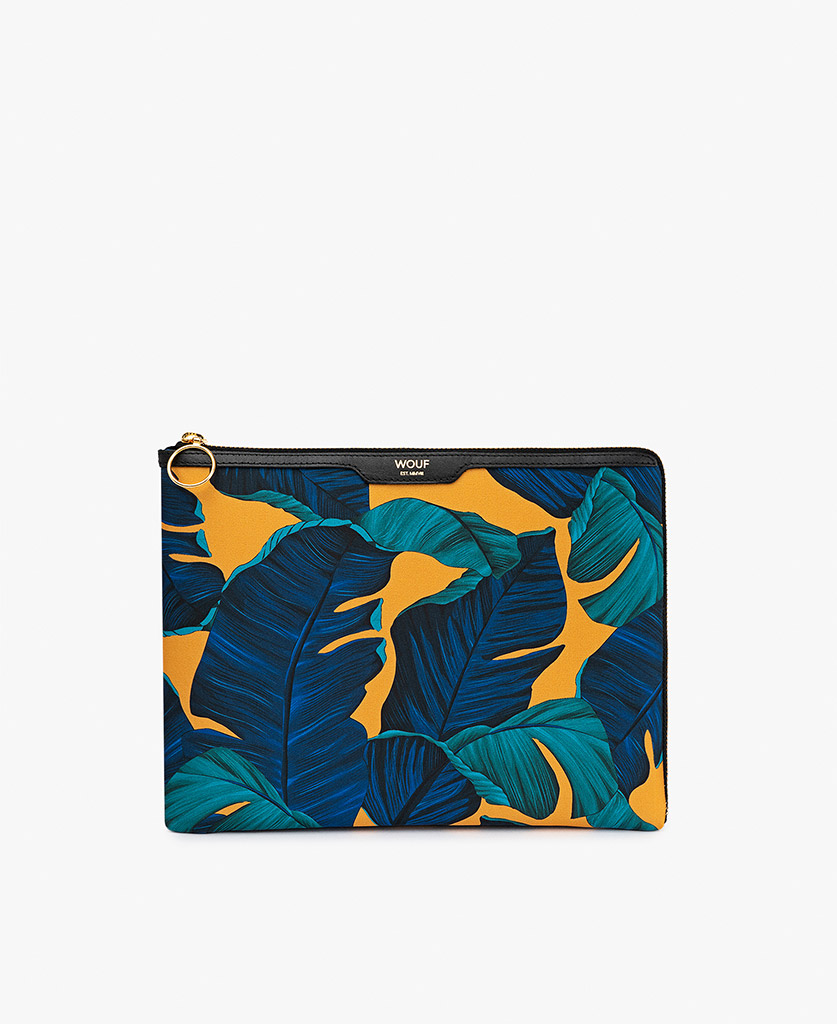 woman's satin ipad case in yellow and blue