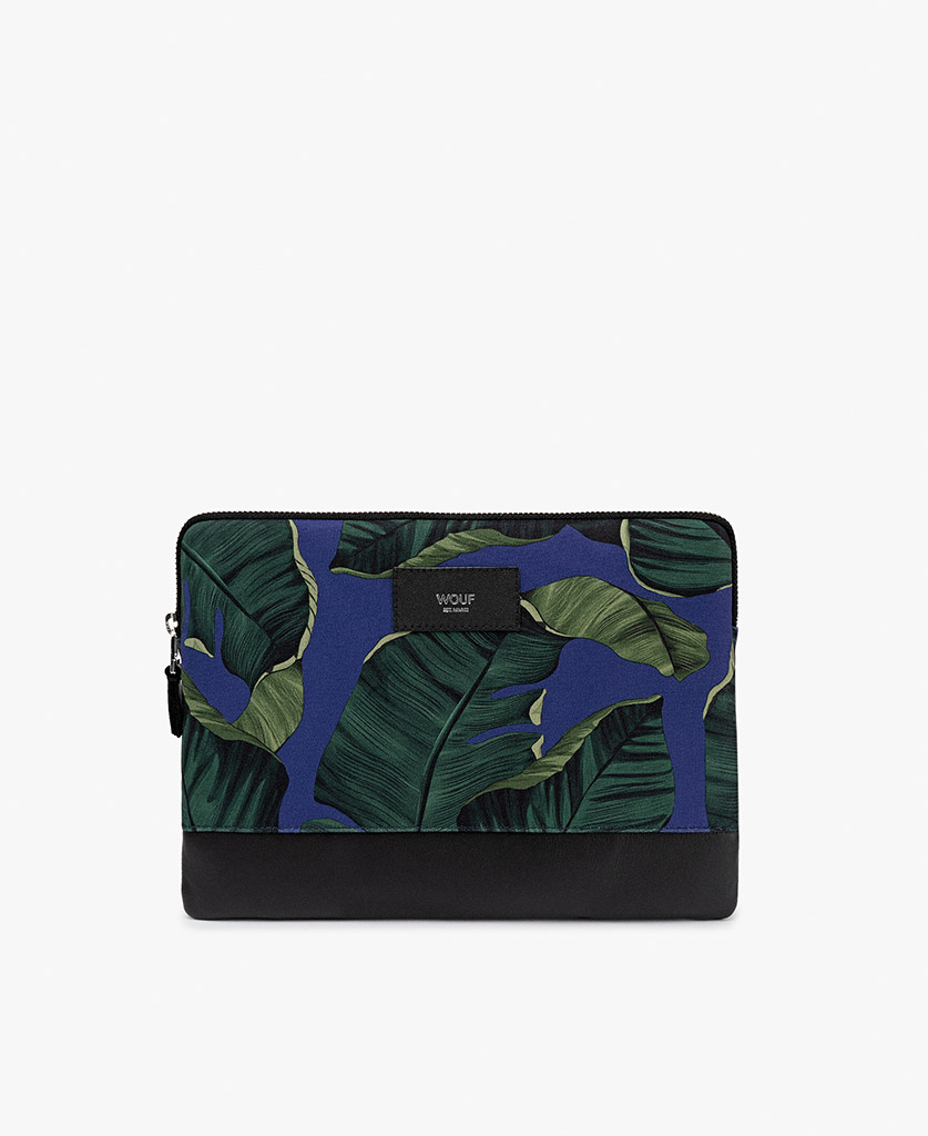 man's blue ipad case with green leaves
