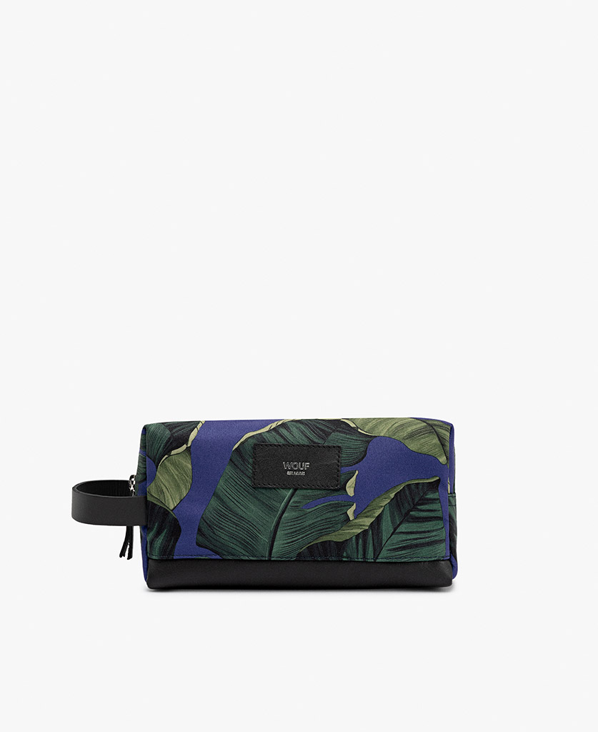 blue toiletry bag for man with green leaves