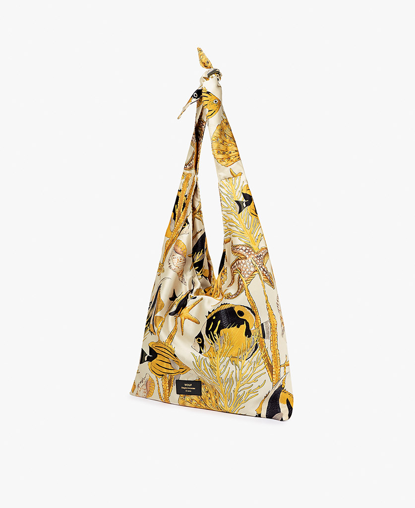 woman's satin bag in beige with yellow fishes