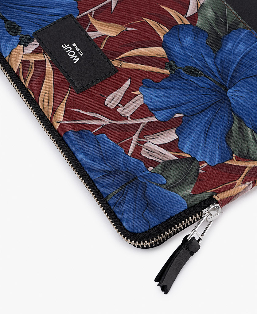 man's ipad case in Burgundy with blue flowers