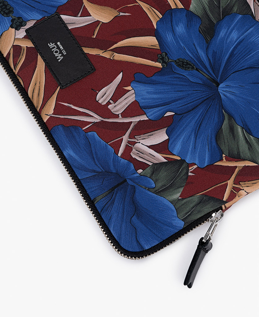 man's laptop case with flowers