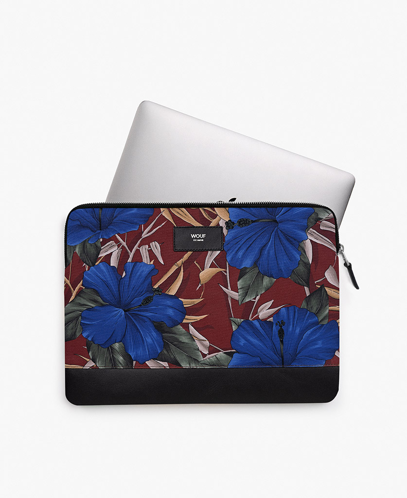 man's laptop case with blue flowers