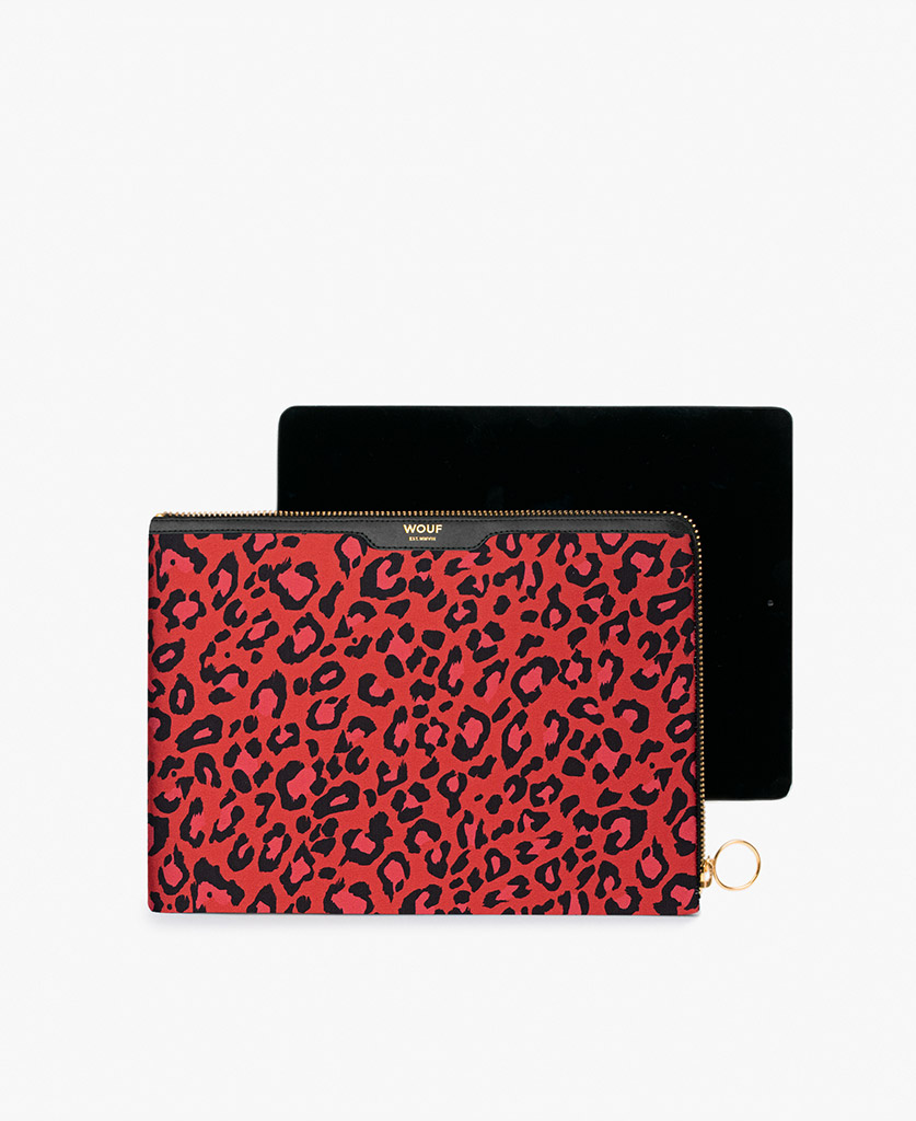 woman's satin ipad case in red