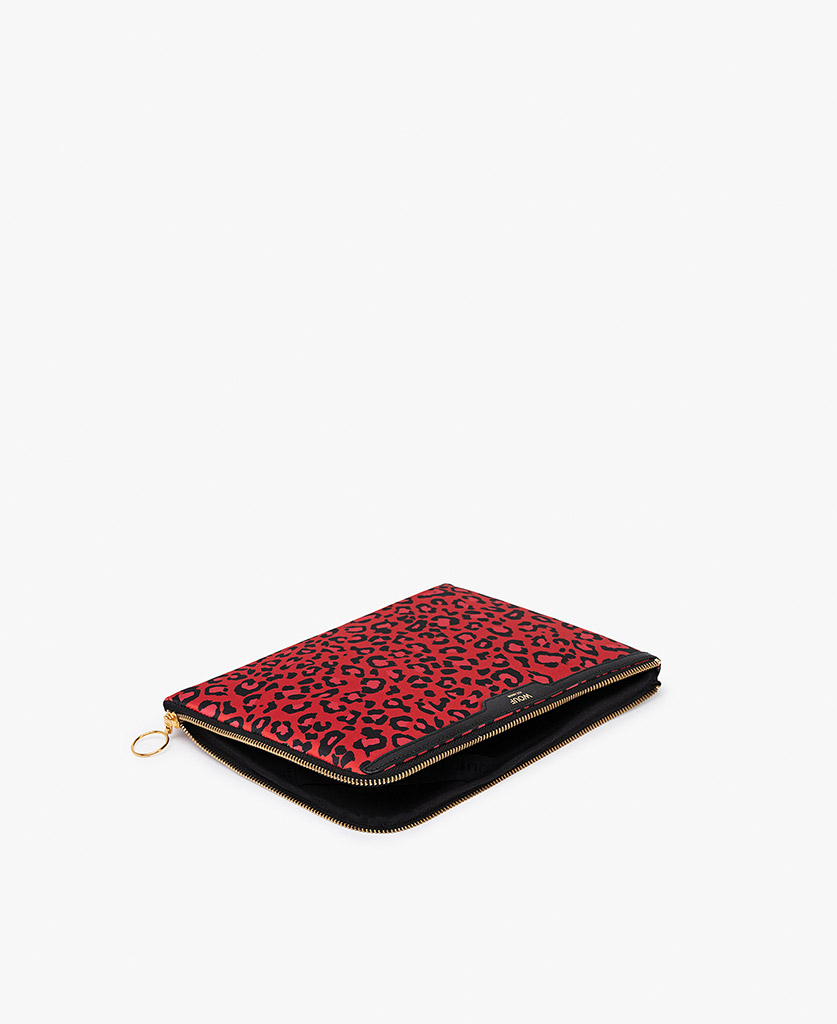 woman's satin ipad case in red with leopard print
