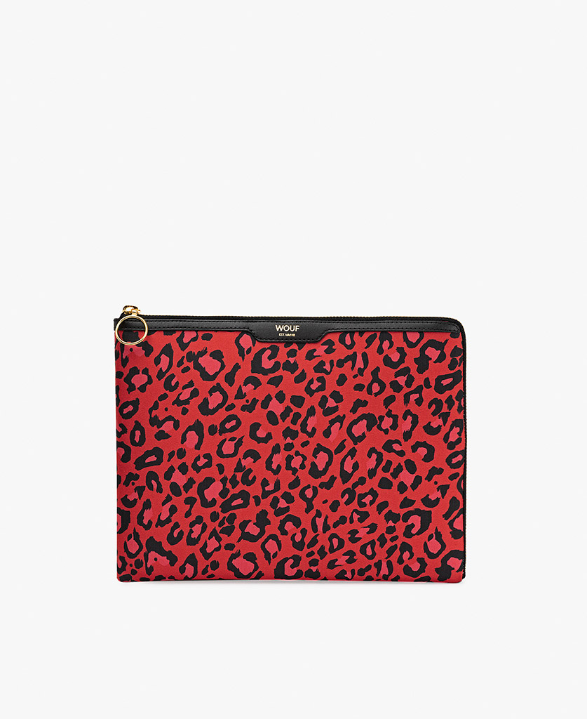 woman's satin ipad case in red with black leopard print