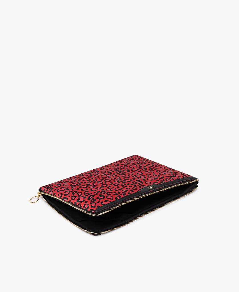 red satin laptop case with leopard print