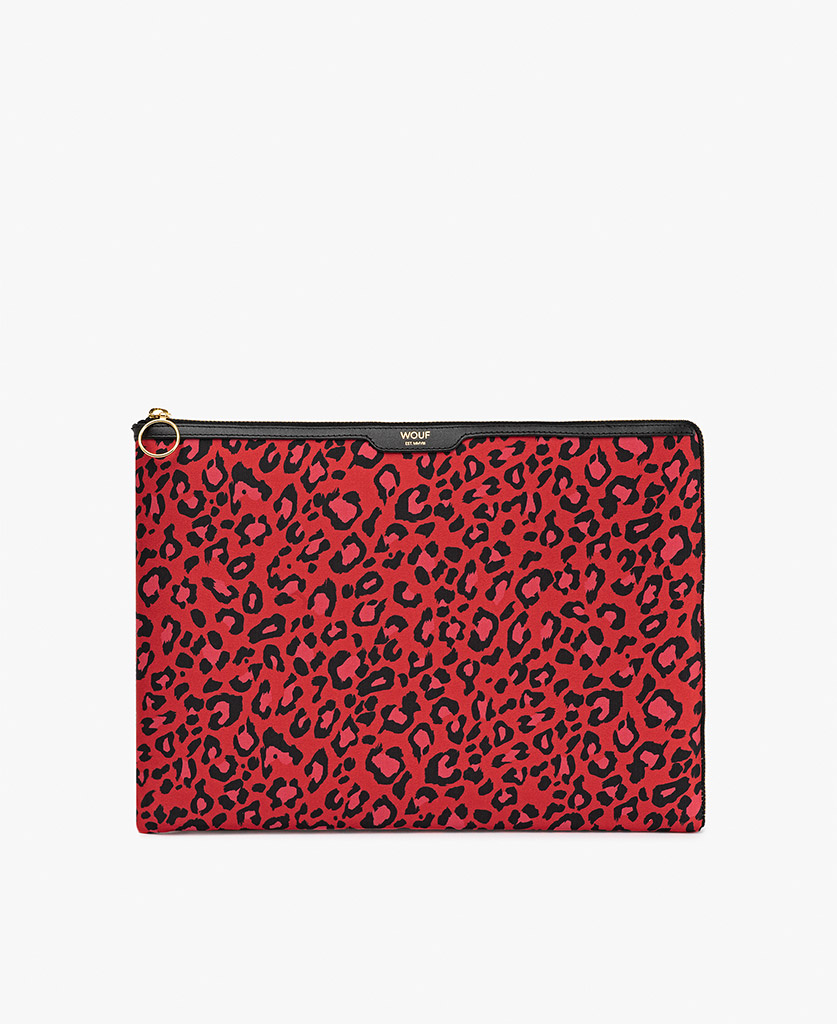 red satin laptop case with black leopard print