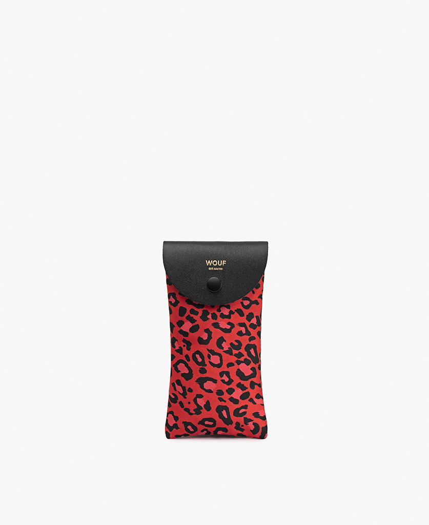 woman's red satin sunglass case with leopard pattern and leather details