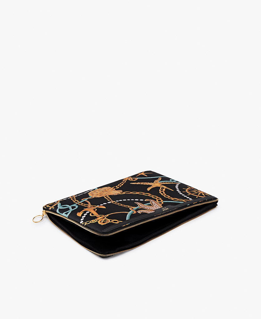 woman's satin laptop case in black with yellow prints