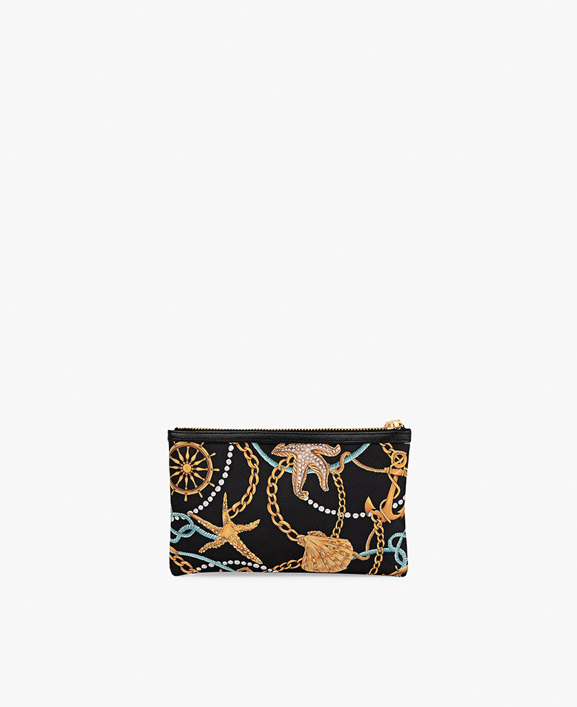 woman's black satin clutch bag