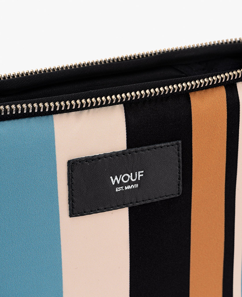 colorful laptop cover for man with leather label